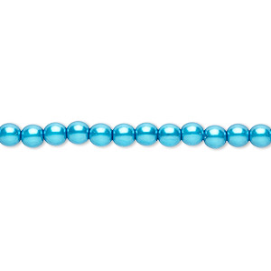 bead, czech pearl-coated glass druk, turquoise blue, 4mm round. sold per 16-inch strand.
