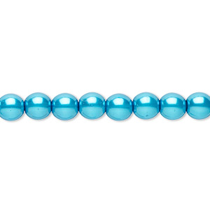 bead, czech pearl-coated glass druk, turquoise blue, 6mm round. sold per 16-inch strand.