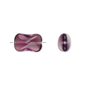 bead, czech pressed glass, amethyst purple, 14.5x9.5mm twist. sold per 16-inch strand, approximately 30 beads.