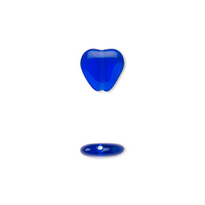 bead, czech pressed glass, cobalt, 10x9.5mm heart. sold per 16-inch strand, approximately 45 beads.