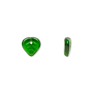 bead, czech pressed glass, emerald green, 9x8.5mm top-drilled leaf. sold per 16-inch strand, approximately 140 beads.