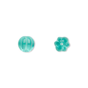 bead, czech pressed glass, light aqua, 8x8mm fluted round. sold per 16-inch strand, approximately 50 beads.