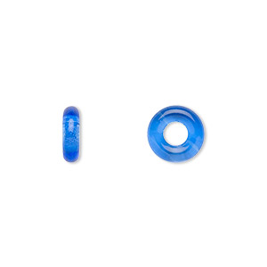 bead, czech pressed glass, light cobalt, 9.5x3mm ring with 3.5mm hole. sold per pkg of 50.
