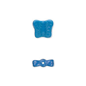 bead, czech pressed glass, opaque blue, 11x9mm butterfly. sold per 16-inch strand, approximately 45 beads.