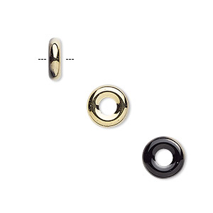 bead, czech pressed glass, opaque jet with half-coat bronze gold, 9.5x3mm ring with 3.5mm hole. sold per pkg of 50.