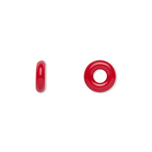 bead, czech pressed glass, opaque red, 9.5x3mm ring with 3.5mm hole. sold per pkg of 50.