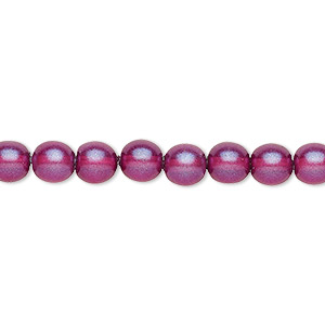 bead, czech pressed glass, pearlized purple, 6mm round. sold per 16-inch strand, approximately 65 beads.
