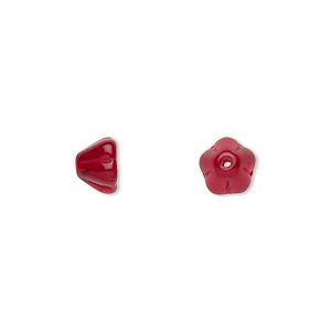 bead, czech pressed glass, ruby red, 8.5x6.5mm flower. sold per 16-inch strand, approximately 80 beads.