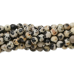 bead, dalmatian jasper (natural), 4mm round, c grade, mohs hardness 6-1/2 to 7. sold per pkg of (10) 16-inch strands.