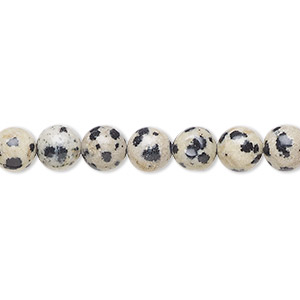 bead, dalmatian jasper (natural), 6mm round, b grade, mohs hardness 6-1/2 to 7. sold per 16-inch strand.