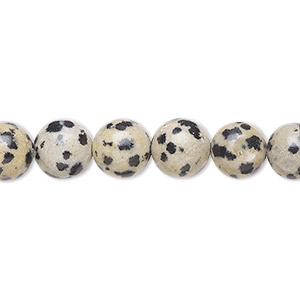 bead, dalmatian jasper (natural), 8mm round, b grade, mohs hardness 6-1/2 to 7. sold per 16-inch strand.