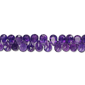 bead, dark amethyst (natural), 5x4mm-7x5mm hand-cut top-drilled faceted teardrop, b grade, mohs hardness 7. sold per 5-inch strand, approximately 55 beads.