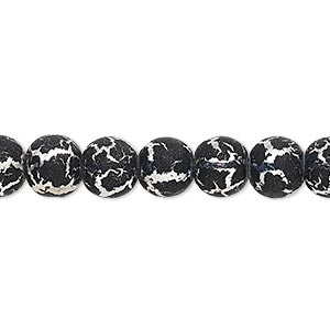 bead, desert sun, black and silver-finished glass, 8mm round. sold per pkg of (2) 16-inch strands.