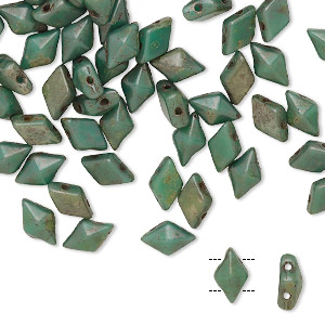 bead, diamonduo™, czech pressed glass, opaque bronze green turquoise, faceted diamond with flat back and (2) 0.7-0.8mm holes. sold per 10-gram pkg, approximately 70 beads.