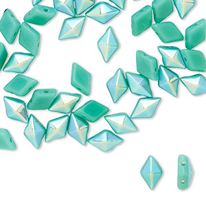 bead, diamonduo™, czech pressed glass, opaque green turquoise ab, 8x5mm faceted diamond with flat back and (2) 0.7-0.8mm holes. sold per 10-gram pkg, approximately 70 beads.