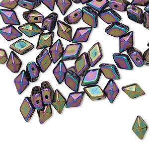 bead, diamonduo™, czech pressed glass, opaque iris purple, 8x5mm faceted diamond with flat back and (2) 0.7-0.8mm holes. sold per 10-gram pkg, approximately 70 beads.