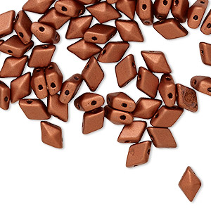 bead, diamonduo™, czech pressed glass, opaque matte copper, 8x5 faceted diamond with flat back and (2) 0.7-0.8mm holes. sold per 10-gram pkg, approximately 70 beads.