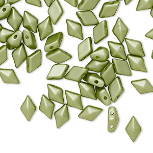 bead, diamonduo™, czech pressed glass, opaque pastel olivine, 8x5mm faceted diamond with flat back and (2) 0.7-0.8mm holes. sold per 10-gram pkg, approximately 70 beads.