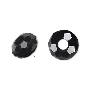 bead, dione and celestial crystal, 32-facet, black, 14x8mm faceted rondelle with 5mm hole. sold per pkg of 12.