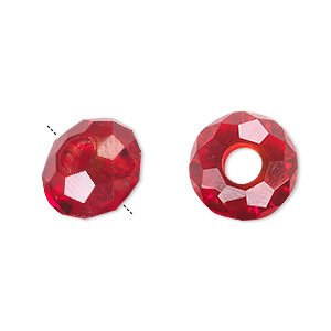 bead, dione and celestial crystal, 32-facet, red, 14x8mm faceted rondelle with 5mm hole. sold per pkg of 12.