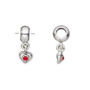 bead, dione, antique silver-plated pewter (tin-based alloy) and glass chaton, red, 8x5mm rondelle with 10x7mm heart dangle, 5mm hole. sold individually.
