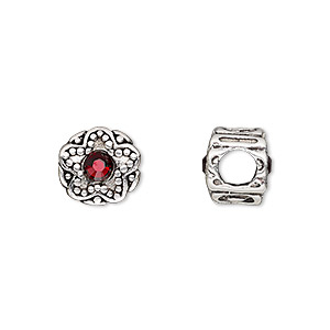 bead, dione, antique silver-plated pewter (tin-based alloy) and swarovski crystal rhinestone, garnet red, 11mm double-sided round with star design, 5mm hole. sold individually.