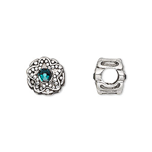 bead, dione, antique silver-plated pewter (tin-based alloy) and swarovski crystal rhinestone, emerald green, 11mm double-sided round with star design, 5mm hole. sold individually.