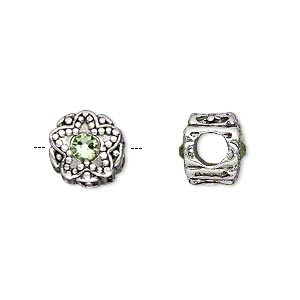 bead, dione, antique silver-plated pewter (tin-based alloy) and swarovski crystal rhinestone, peridot green, 11mm double-sided round with star design, 5mm hole. sold individually.