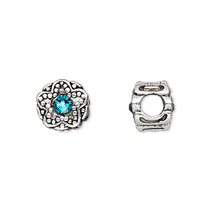 bead, dione, antique silver-plated pewter (tin-based alloy) and swarovski crystal rhinestone, blue zircon, 11mm double-sided round with star design, 5mm hole. sold individually.