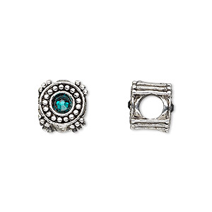 bead, dione, antique silver-plated pewter (tin-based alloy) and swarovski crystal rhinestone, emerald green, 10mm double-sided round, 5mm hole. sold individually.