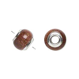 bead, dione, brown goldstone (manmade) and sterling silver grommets, 11x8mm-13x9mm rondelle with 4mm hole. sold individually.