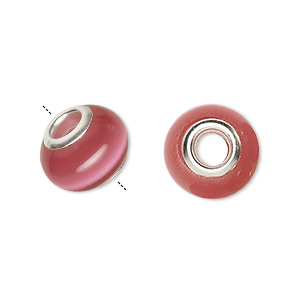 bead, dione, cats eye glass and silver-finished brass grommets, dark pink, 13x10mm-14x10mm rondelle, 4.5-5mm hole. sold individually. minimum 2 per order.