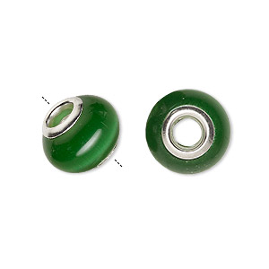 bead, dione, cats eye glass and silver-plated brass grommets, dark green, 13x10mm-14x10mm rondelle with 4.5-5mm hole. sold per pkg of 6.