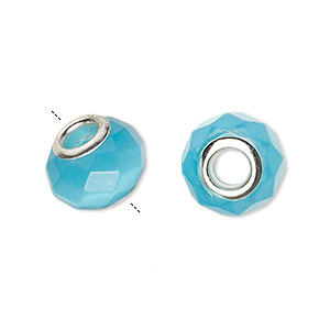 bead, dione, cats eye glass and silver-plated brass grommets, turquoise blue, 13x10mm-14x10mm faceted rondelle with 4.5-5mm hole. sold per pkg of 4.