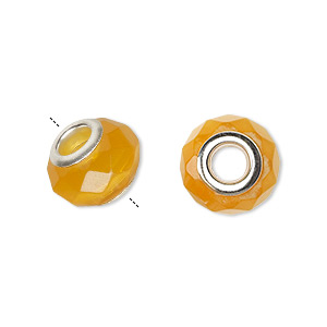 bead, dione, cats eye glass and silver-plated brass grommets, yellow, 13x10mm-14x10mm facted rondelle with 4.5-5mm hole. sold per pkg of 4.