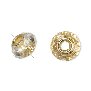 bead, dione, celestial crystal and gold-finished brass, 32-facet, clear, 13x9mm-14x10mm faceted rondelle with 4.5mm hole. sold per pkg of 10.