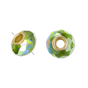 bead, dione, celestial crystal and gold-finished brass, 32-facet, green ab, 13x9mm-14x10mm faceted rondelle with 4.5mm hole. sold per pkg of 10.