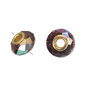 bead, dione, celestial crystal and gold-finished brass, 32-facet, medium purple ab, 13x9mm-14x10mm faceted rondelle with 4.5mm hole. sold per pkg of 10.