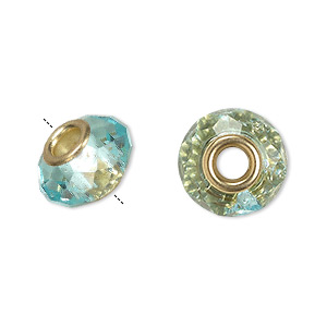 bead, dione, celestial crystal and gold-finished brass, 32-facet, turquoise blue, 13x9mm-14x10mm faceted rondelle with 4.5mm hole. sold per pkg of 10.
