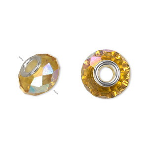 bead, dione, celestial crystal and silver-plated brass, 32-facet, gold ab, 13x9mm-14x10mm faceted rondelle with 4.5mm hole. sold per pkg of 10.