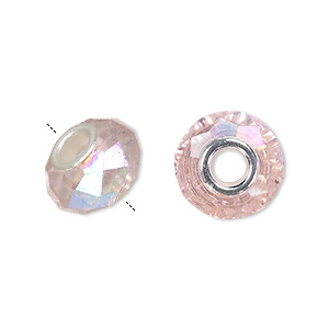 bead, dione, celestial crystal and silver-plated brass, 32-facet, pink ab, 13x9mm-14x10mm faceted rondelle with 4.5mm hole. sold per pkg of 10.