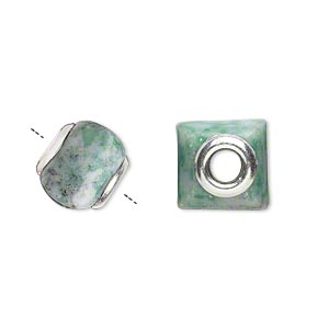 bead, dione, ching hai jade (natural) and sterling silver grommets, 11x10mm-13x11mm square rondelle with 4mm hole, b grade, mohs hardness 3-1/2 to 4. sold individually.