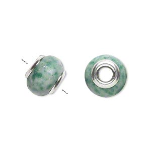 bead, dione, ching hai jade (natural) and sterling silver grommets, 11x8mm-13x9mm rondelle with 4mm hole, b grade, mohs hardness 3-1/2 to 4. sold individually.
