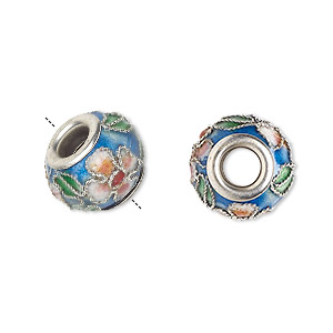bead, dione, cloisonne, enamel and silver-plated brass grommets, blue / pink / green, 14x10mm rondelle with flower and leaves design, 5mm hole. sold per pkg of 4.