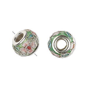bead, dione, cloisonne, enamel and silver-plated brass grommets, green and pink, 14x10mm rondelle with flower and leaves design, 5mm hole. sold per pkg of 4.