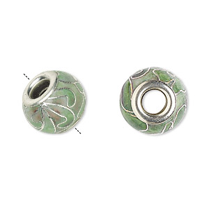 bead, dione, cloisonne, enamel and silver-plated brass grommets, light green, 14x10mm rondelle with flower design and 5mm hole. sold per pkg of 4.