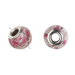 bead, dione, cloisonne, enamel and silver-plated brass grommets, pink, 14x10mm rondelle with flower design and 5mm hole. sold per pkg of 4.