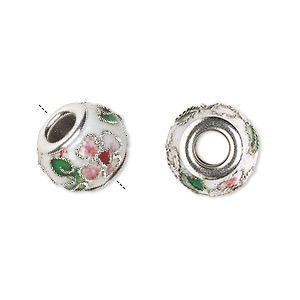 bead, dione, cloisonne, enamel and silver-plated brass grommets, white / pink / green, 14x10mm rondelle with flower and leaves design, 5mm hole. sold per pkg of 4.