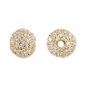 bead, dione, crystal and gold-plated pewter (tin-based alloy), crystal clear, 14mm round with 3mm hole. sold individually.