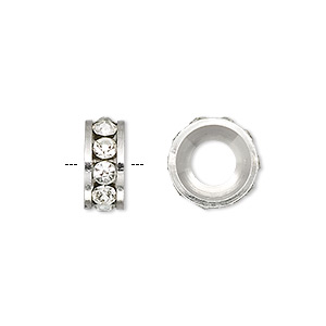 bead, dione, czech crystal and silver-plated brass, crystal clear, 12x5mm rondelle with 6mm hole. sold per pkg of 2.